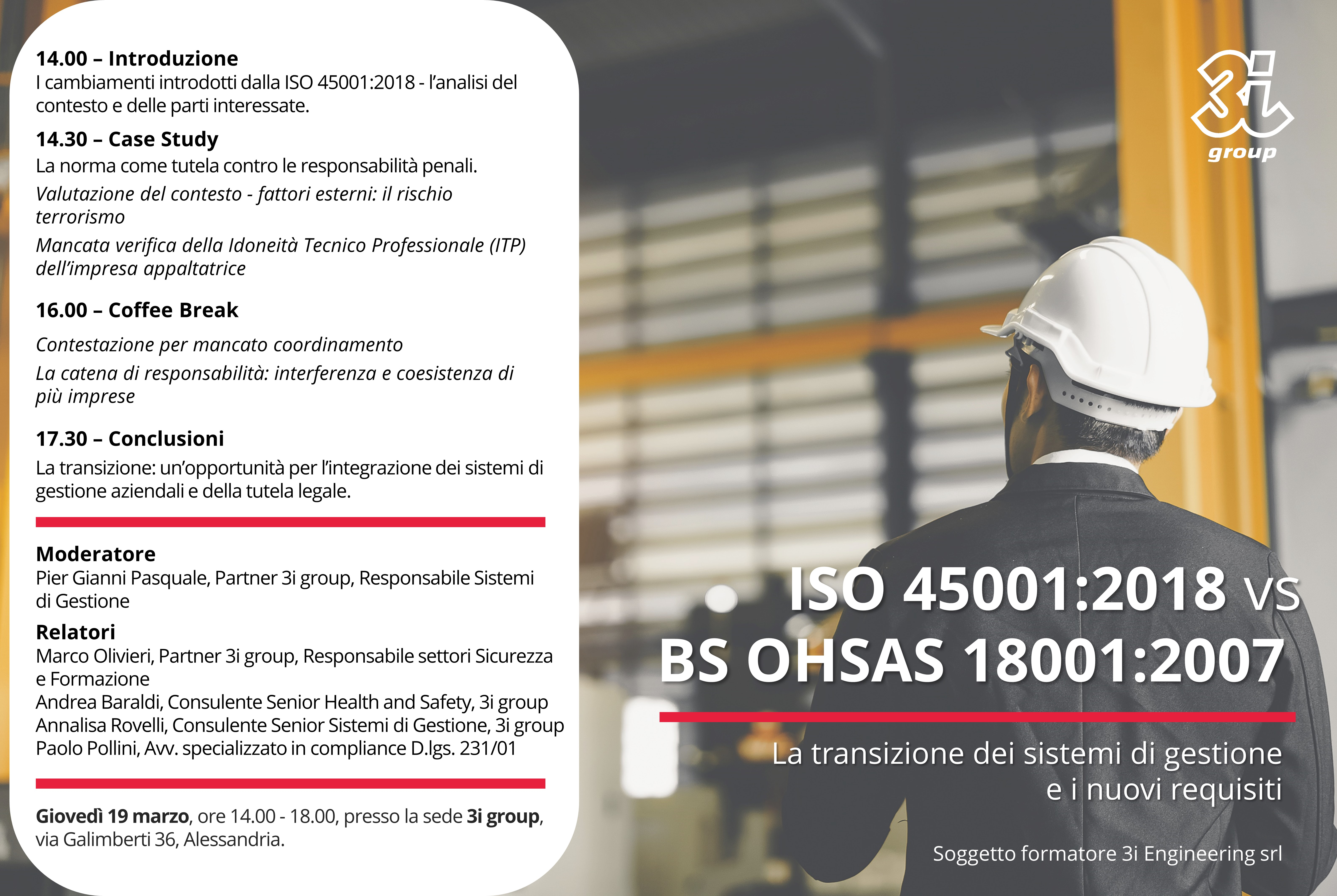 Workshop gratuito – ISO 45001 vs OHSAS 18001 – RIMANDATO