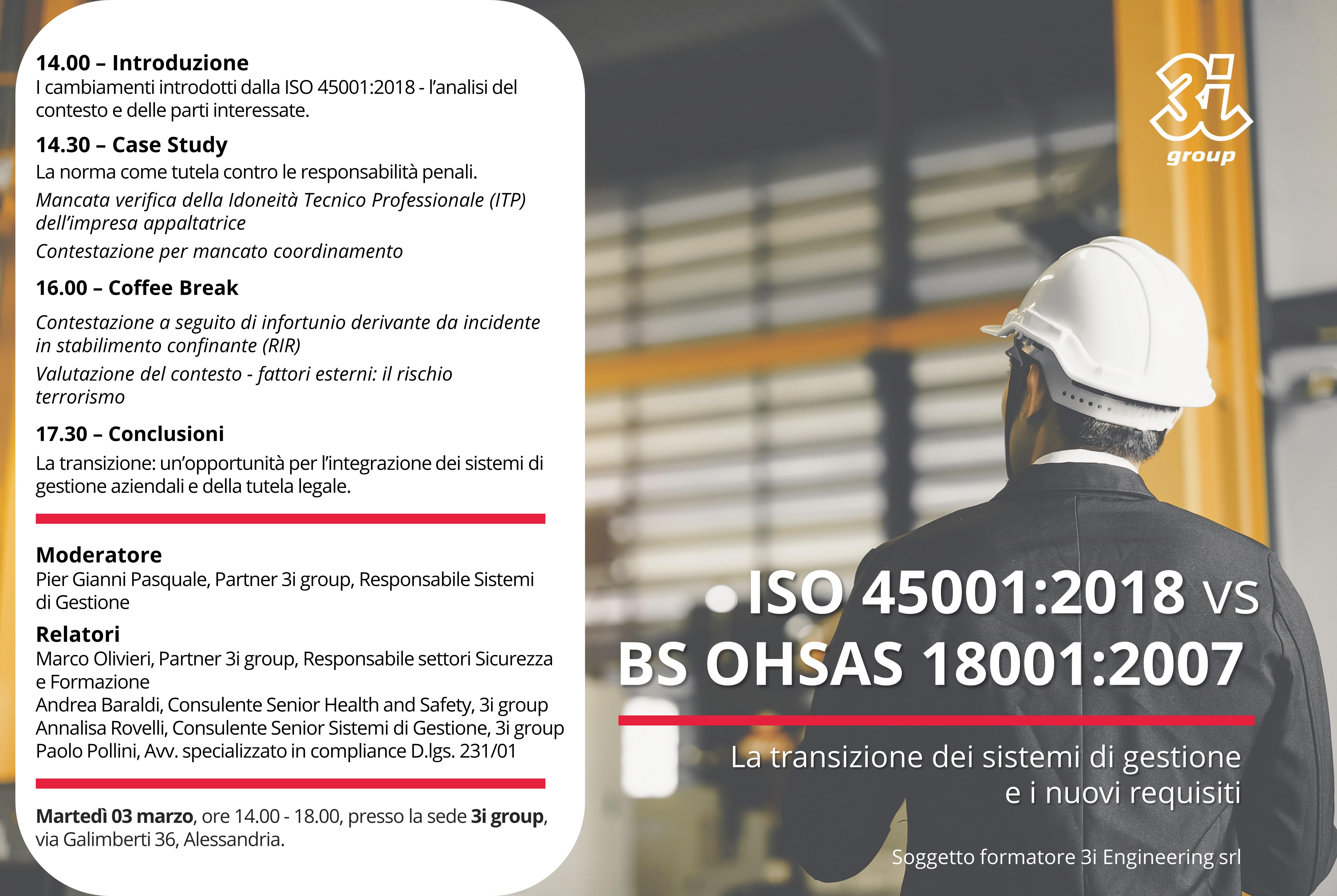 Workshop gratuito – ISO 45001 vs OHSAS 18001